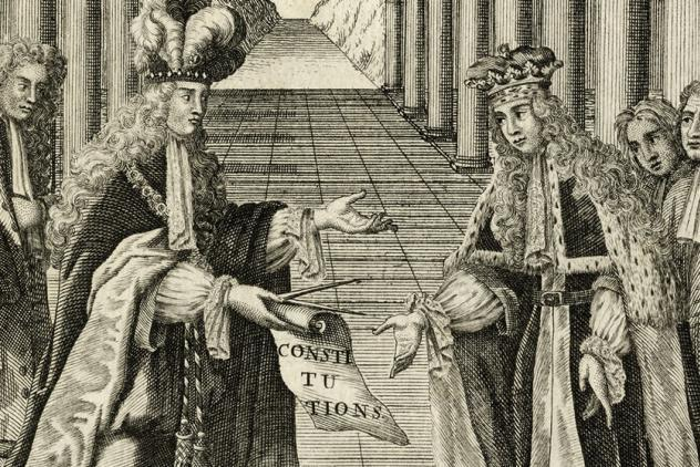 Detail from frontispiece from Book of Constitutions, 1723