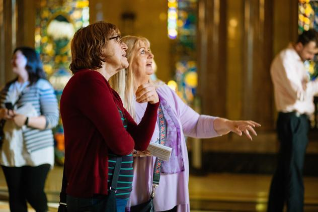Visitors enjoy a guided tour at Freemasons' Hall. Photo: Charlie Burgio ©Museum of Freemasonry