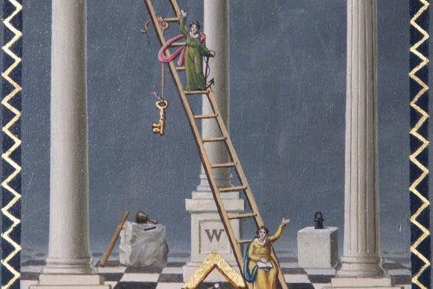 Detail from tracing boards of Lodge of Honor and Generosity, No. 165 by Josiah Bowring (1819) ©Museum of Freemasonry